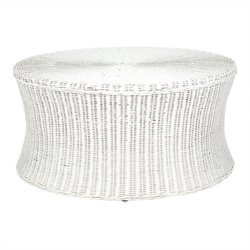 Safavieh Ruxton Wicker and Wooden Ottoman in White