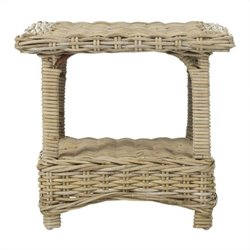 Safavieh Bowen Rattan Side Table in Natural Unfinished
