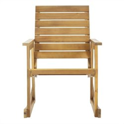 Safavieh Alexei Steel and Acacia Wood Rocking Chair in Teak Color