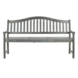 Safavieh Mischa Steel and Acacia Wood Bench in Ash Grey