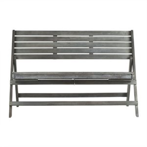 Luca Steel and Acacia Wood Folding Bench