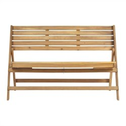 Safavieh Luca Steel and Acacia Wood Folding Bench in Teak Color