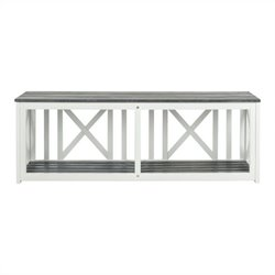 Safavieh Branco Steel and Acacia Wood Bench in White and Grey