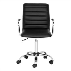 Safavieh Jonika Chrome Steel Desk Chair in Black
