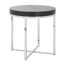 Safavieh Morgan Stainless Steel Round End Table in Silver