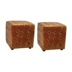 Safavieh Kristof Bi-cast Leather Ottomans in Saddle (Set of 2)