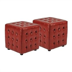 Safavieh Abigail Beech Wood Ottomans in Red (Set of 2)