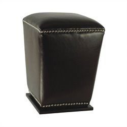 Safavieh James Beech Wood Leather Ottoman in Black (Set of 2)