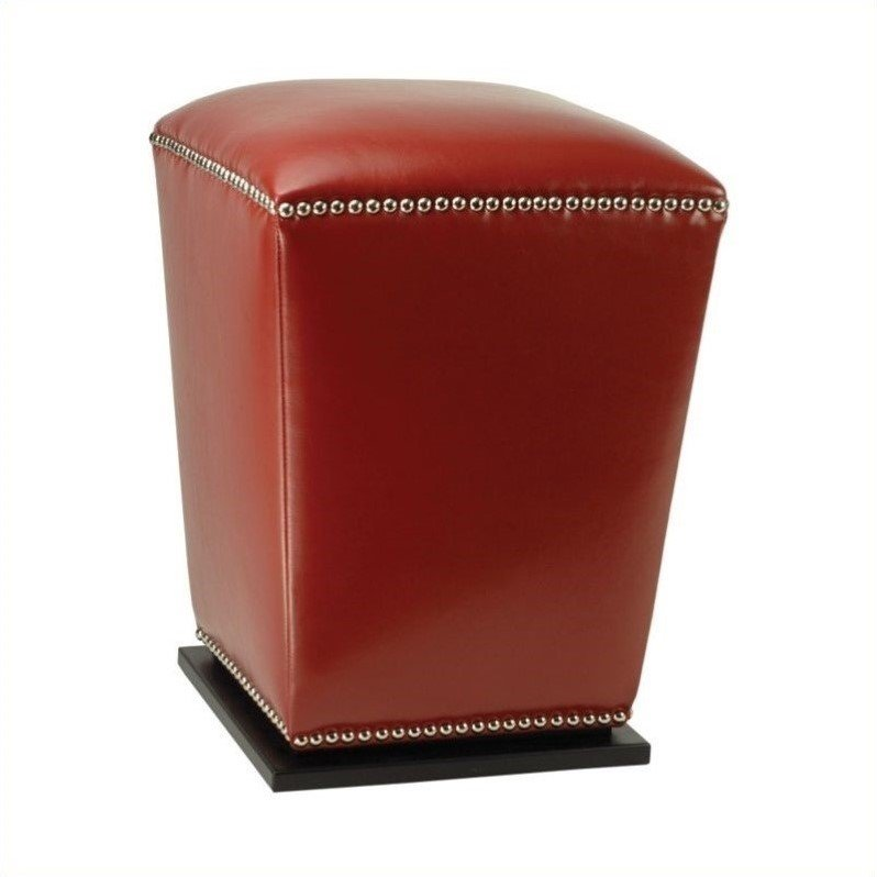 Safavieh James Beech Wood Leather Ottoman in Red (Set of 2)