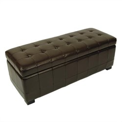 Safavieh Large Manhattan Beech Wood Storage Bench in Brown