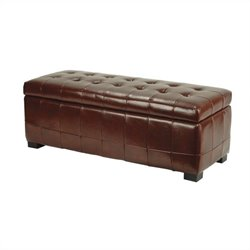 Safavieh Large Manhattan Beech Wood Storage Bench in Cordovan