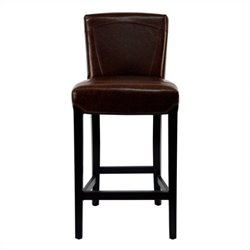 Safavieh Ken Brown Bi-cast Leather Barstool in Brown