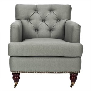 Safavieh Grace Birchwood Fabric Tufted Club Arm Chair in Gray