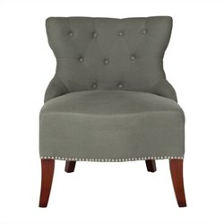 Safavieh Zachary Birchwood Tufted Chair in Grey