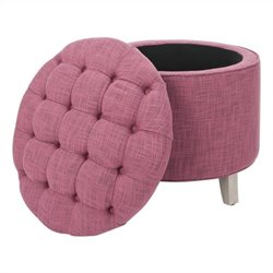Safavieh Scarlett Oak Tufted Storage Ottoman in Rose