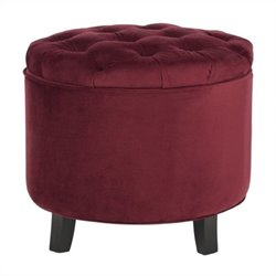 Safavieh Amelia Oak Tufted Storage Ottoman in Red