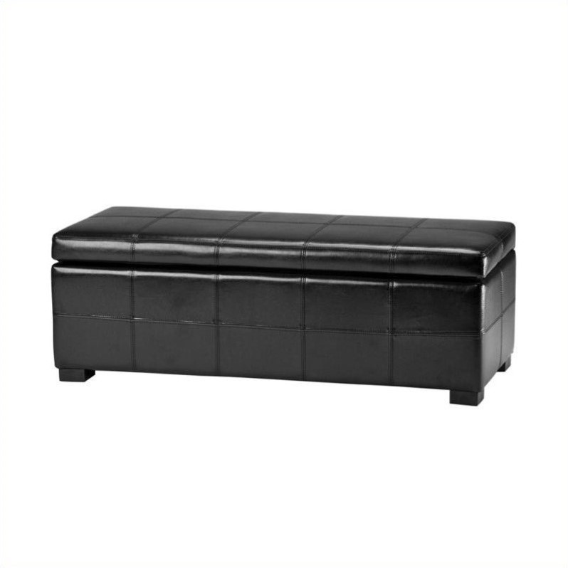 Safavieh Madison Leather Storage Bench In Black Hud8226b