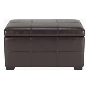 Safavieh Small Madison Leather Storage Ottoman in Brown