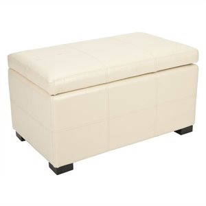 Safavieh Lucas Beech Wood Leather Storage Bench in Flat Cream