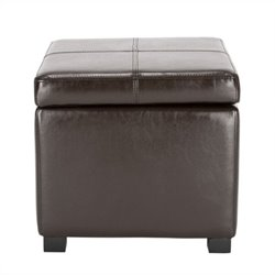 Safavieh Elizabeth Beech Wood Leather Storage Ottoman in Brown