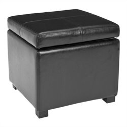 Safavieh Elizabeth Beech Wood Leather Storage Ottoman in Black