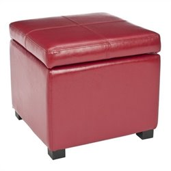 Safavieh Elizabeth Beech Wood Leather Storage Ottoman in Red