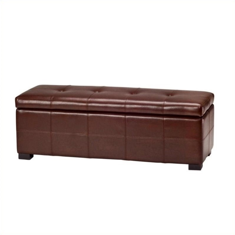 Safavieh Large Maiden Tufted Leather Storage Bench In Cordovan Hud8229c