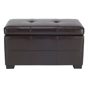 Safavieh Small Maiden Tufted Leather Storage Ottoman in Brown
