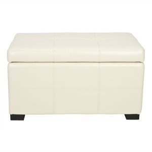 Safavieh Small Maiden Tufted Leather Storage Ottoman in Cream