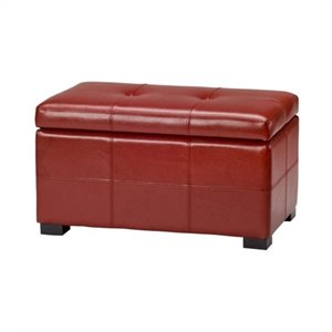Safavieh Small Maiden Tufted Leather Storage Ottoman in Red