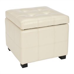 Safavieh William Leather Tufted Storage Ottoman in Flat Cream