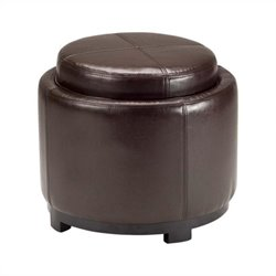 Safavieh Chelsea Round Tray Leather Ottoman in Brown