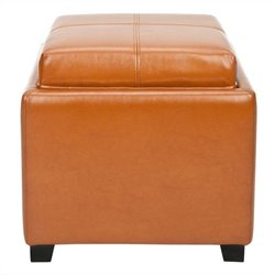 Safavieh Carter Leather Tray Ottoman in Saddle
