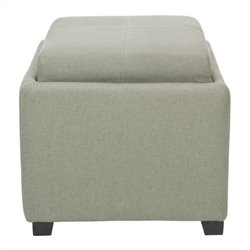 Safavieh Carter Birch Wood Linen Tray Ottoman in Grey