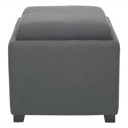 Safavieh Carter Birch Wood Linen Tray Ottoman in Dark Grey