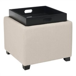 Safavieh Carter Birch Wood Linen Tray Ottoman in Beige