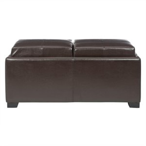 Safavieh Vivian Beech Wood Double Tray Ottoman in Brown