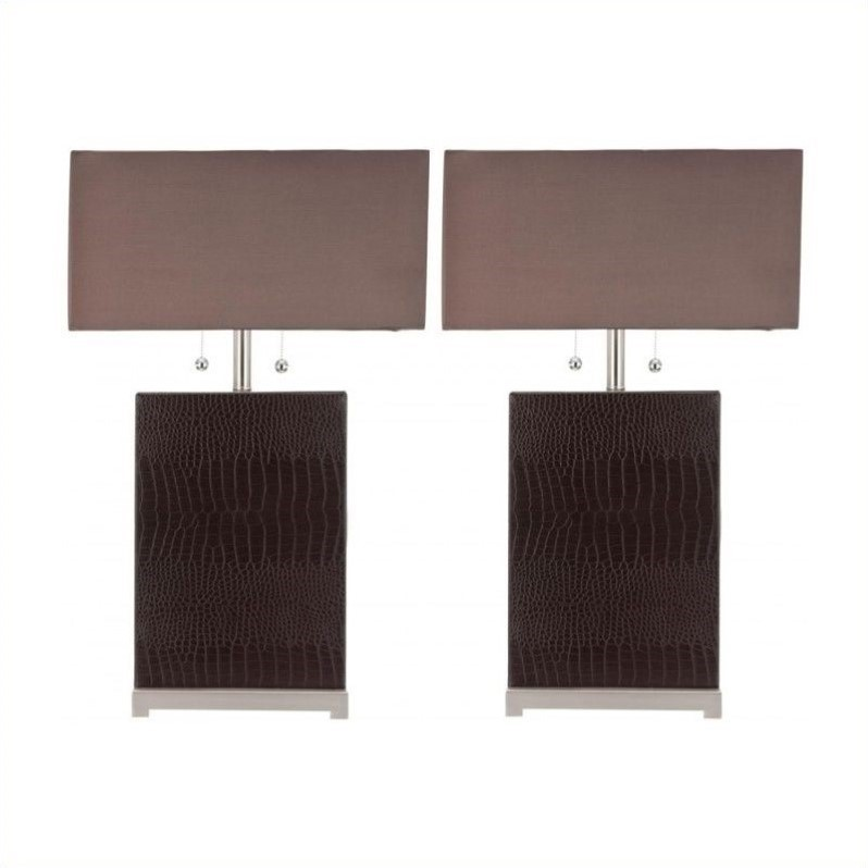 Safavieh Sofia Leather Table Lamp with Silk Chocolate Shade (Set of 2)