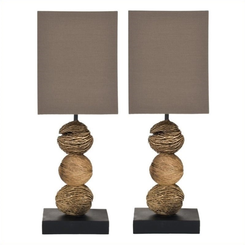 Safavieh Samantha Mini Table Lamp with Brown Shade (Set Of 2)