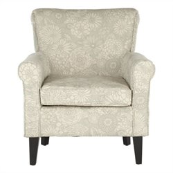 Safavieh Megan Birch Wood Abbey Club Chair in Ivory Floral Pattern