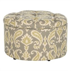 Safavieh Tanisha Shoe Ottoman in Grey and Inside Beige