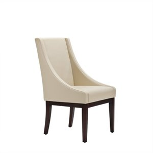 Safavieh Soho Leather Monroe Leather Slipper Swayback Arm Chair in Ivory