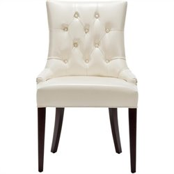 Safavieh Amanda Tufted Leather Chair in Ivory
