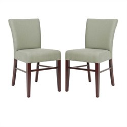 Safavieh Heidy Birch Wood Side Chair in Grey and Green (Set Of 2)