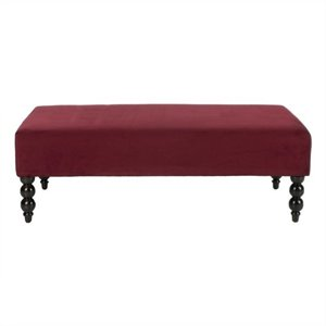 Safavieh Reagan Cotton Ottoman in Red Velvet