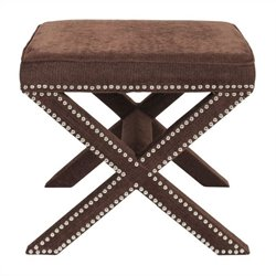 Safavieh Palmer Birch Wood Ottoman in Brown