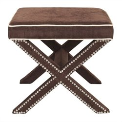 Safavieh Palmer Birch Wood Ottoman in Chocolate Brown
