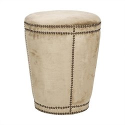 Safavieh Baylee Birch Wood Ottoman in Antique Beige