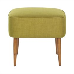 Safavieh Jerry Birch Wood Ottoman in Green