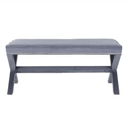 Safavieh Nicole Birch Wood Nailhead X Bench in Grey